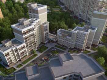 Вид на разноэтажные корпуса сверху
